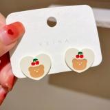 S925银针韩国白色爱心樱桃小熊夏季简约百搭可爱像少女耳钉耳环