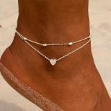 欧美跨境夏季沙滩新款简约圆珠链爱心桃心心形2件套脚脚饰