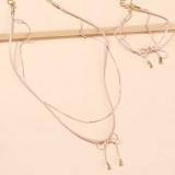 韩国蝴蝶结双层粉色气质高级感手链项链两件套