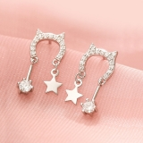 S925银针韩国闪钻猫咪可爱甜美镶钻星星小巧气质设计感耳钉耳饰女