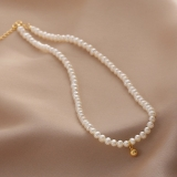 韩国新款珍珠锁骨链设计感小金球珍珠颈链优雅时尚项链