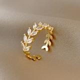 【10-13左右】【真金电镀】锆石叶子ins潮时尚简约个性设计感食指指环