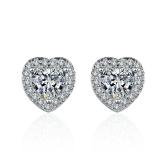 【真金电镀】S925银针韩国几何爱心微镶钻石八星八箭耳钉耳饰女