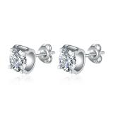 【真金电镀】S925银针莫桑石牛头仿真钻石时尚单钻耳钉耳饰女
