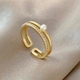 【真金电镀】韩国简约设计感珍珠开口可调节几何形食指戒个性戒指女