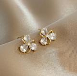 【真金电镀】S925银针韩国时尚微镶锆石冷淡风个性花朵气质复古耳钉耳饰女