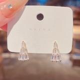 【真金电镀】S925银针几何形超闪锆石耳环女超仙时尚气质网红同款耳钉