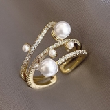 【真金电镀】韩国三层珍珠精致时尚网红个性冷淡风超仙戒指女