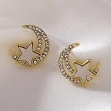 S925银针韩国时尚感水钻贝壳星星月亮百搭气质简约网红耳钉耳饰