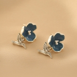 S925银针韩国复古法式滴油花朵小鸟时尚简约设计气质甜美优雅耳钉耳环女