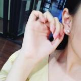 【真金电镀】S925银针高碳钻冷淡风心形简约网红女高级感新款潮小巧耳钉耳饰女