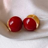 【真金电镀】韩国相思红豆时尚网红简约复古宫廷风个性气质耳扣女