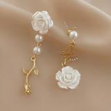 【10-19左右】S925银针韩国白玫瑰珍珠2021年新款潮女夏山茶花气质网红百搭耳钉耳饰女