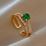 【真金电镀】韩国锆石绿色ins风冷淡风开口时尚个性潮网红小众设计戒指